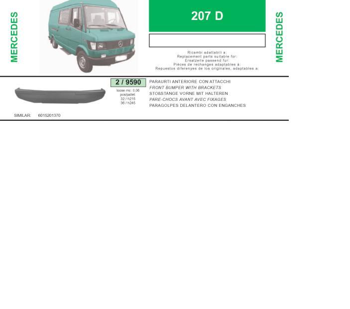 Передній бампер на Mercedes Bus 207-310 602 - Купити бампер Mercedes Bus 207-310 на Авто.про Україна