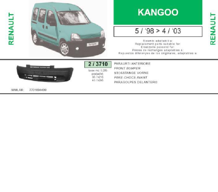 Передній бампер на Renault Kangoo FC0 - Купити бампер Рено Канго на Avto.pro Україна